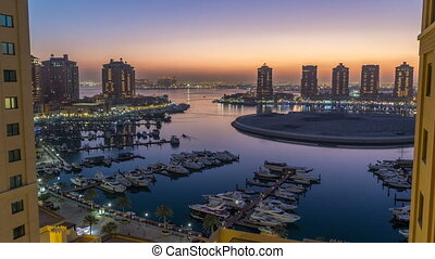 Evening at the Pearl-Qatar day to night timelapse from top....