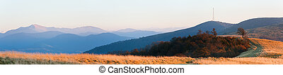 Evening autumn mountain panorama