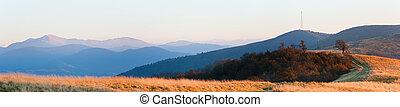 Evening autumn mountain panorama