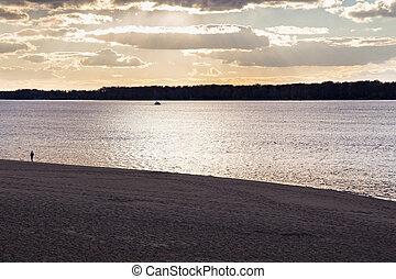 Evening autumn sunset on the Volga river. Samara. Russia.