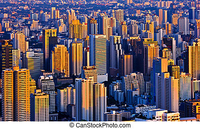 evening Bangkok Thailand - Modern skyscraper city streets in...