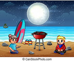 Evening barbeque on the beach illustration