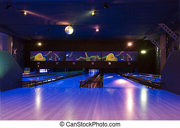 evening bowling floor - bowling in th evening