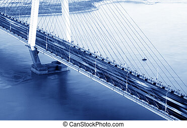 Evening bridge - City at dusk, aerial view of the bridge.