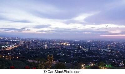 Evening city. Almaty, Kazakhstan. Time Lapse