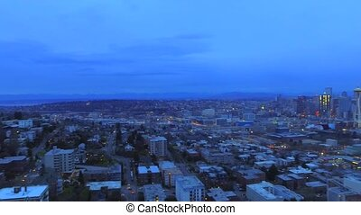 Evening city from a bird's-eye view. - Evening city from a...