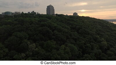 Evening city park and skyline aerial view