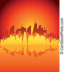 Evening City. Vector