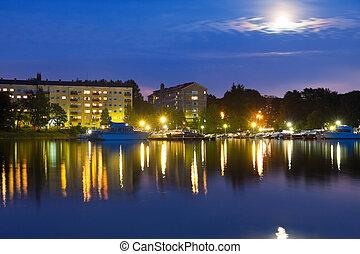 Evening cityscape of Helsinki, Finland