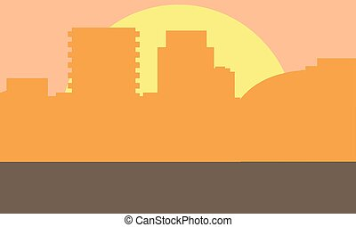 Evening cityscape vector illustration. Sunset landscape concept. City at sunset