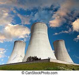 Evening colored sunset view of cooling tower