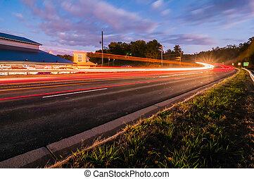 evening commute traffic near lake wylie north and south carolina border over bridge