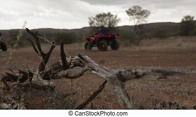 Evening desert motorbike ride, Outback, NT - Wide low-angle...