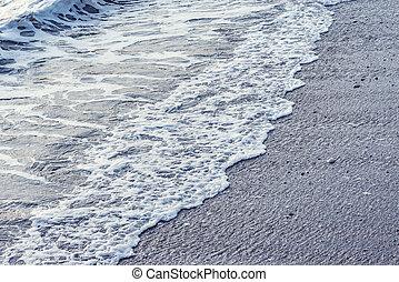 evening., eau, mer, vague