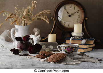 Evening family tea with oat cookies