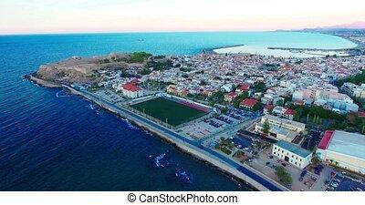 evening flight over Rethymno city at Crete island