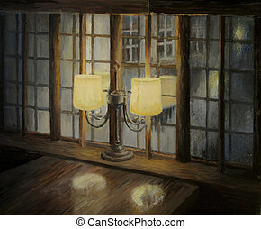 Evening for Two - An oil painting on canvas of an interior...