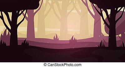 Evening Forest landscape Background in the sunset. Vector Illustration.