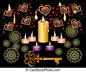 composition with key and candles for evening fortune telling