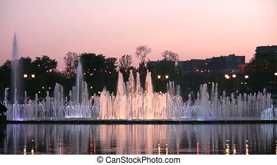 evening fountain