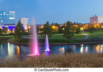 Evening Fountains in Donetsk park - Fountains with purple...