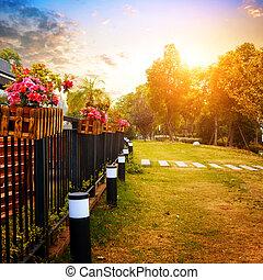 Evening garden - Spring evening, the garden is a golden.