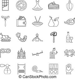 Evening gown icons set, outline style - Evening gown icons...