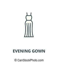 Evening gown line icon, vector. Evening gown outline sign,...