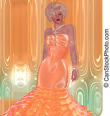 Evening Gown, Peach