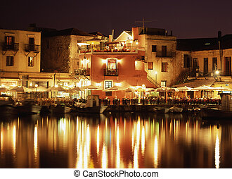 Evening in Crete - The lights of the Venetian harbour...