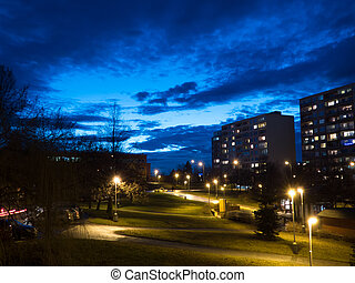 Evening in neighborhood, Prague, Czech Republic