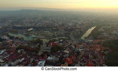 Evening in Tbilisi, Georgia, aerial