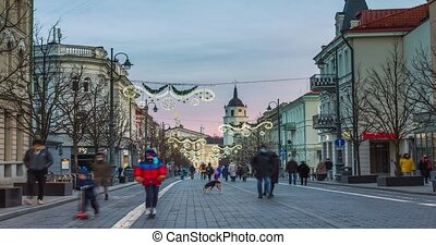 Evening in the Gediminas avenue. Time lapse of Christmas Time In Vilnius, Lithuania