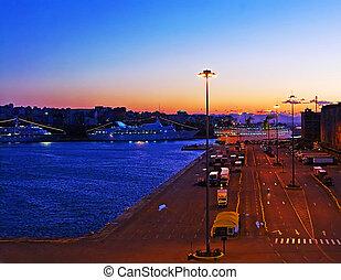 Evening in the passenger port of Piraeus, Athens (sunset)