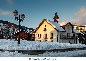 Evening in the Village of Megeve in French Alps, France
