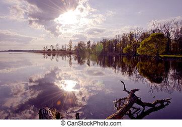 evening lake landscape