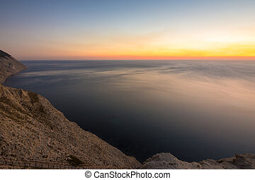 Evening landscape, mountains, sea sunset, Anapa, Russia
