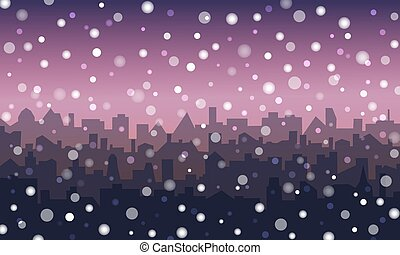 Evening landscape of city in the snow
