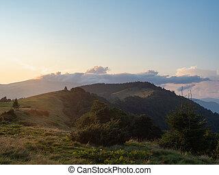 Evening landscape of mountain pasture. Carpathians mountains...