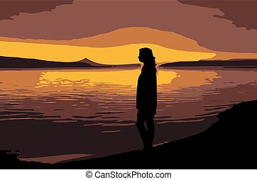 Silhouette of a girl on the river Bank against the sunset
