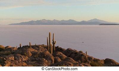 Evening Landscape View Of Uyuni Salt Lake, Bolivia