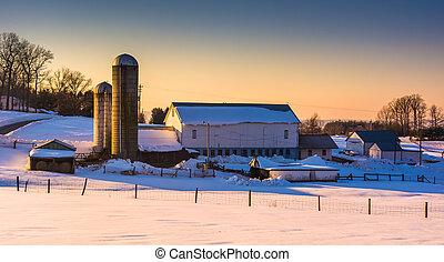 Evening light on a barn in rural York County, Pennsylvania.
