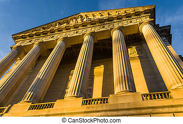 Evening light on a building in Washington, DC.
