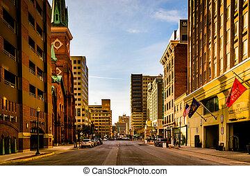 Evening light on buildings on 2nd Street in Harrisburg,...
