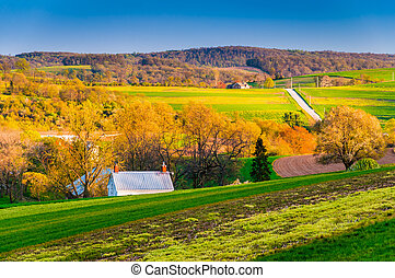 Evening light on fields and hills in rural York County,...