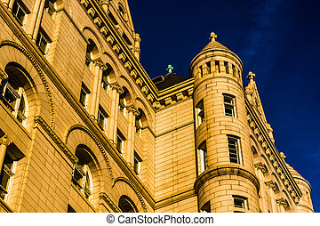 Evening light on the Old Post Office, in Washington, DC.