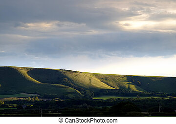 Evening light on the South Downs National Park, near Firle,...