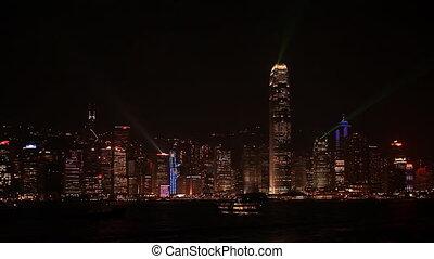 Evening light show. - Evening light show in Kowloon, Hong...