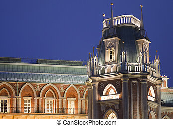 Evening lighting tower of State historical and architectural museum reserve Tsaritsyno, Russia. It was build in 1776.
