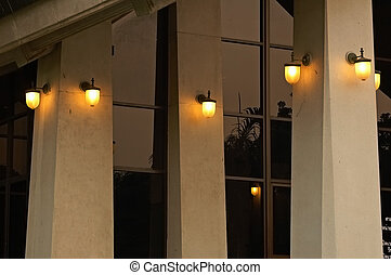 Evening lights - Exterior building light switched on in...